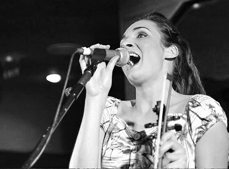 Claire on vocals with Swing Commanders